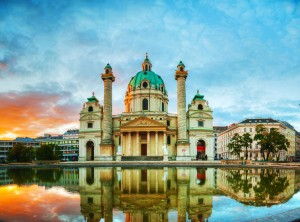 Karlskirche, Vienna at sunrise