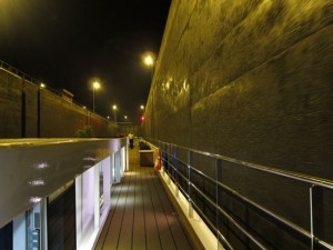 A lock on the River Rhine at night on board SS Antoinette