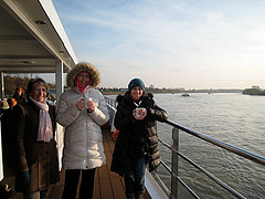 Drinking hot chocolate on the River Rhine on the SS Antoinette