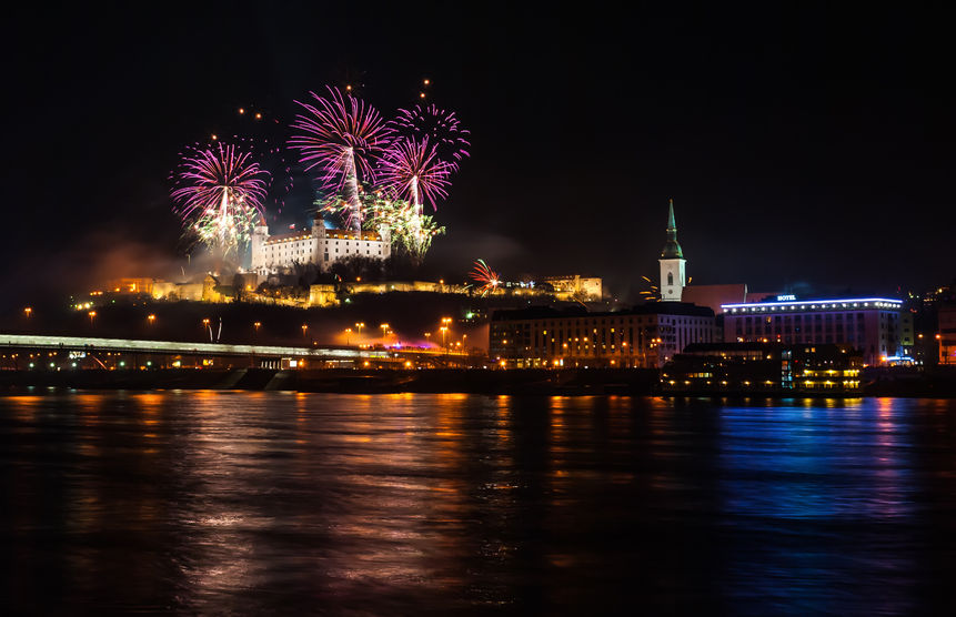 new year celebration. fireworks on the castle in bratislava, slovakia.