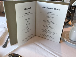 Amadeus Silver II Breakfast Menu