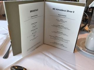 Amadeus Silver II Breakfast Menu
