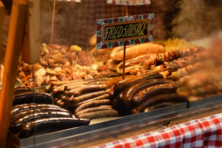 Hungarian Christmas market sausages