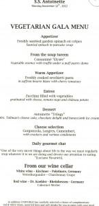 Vegetarian Gala Menu Uniworld SS Antoinette