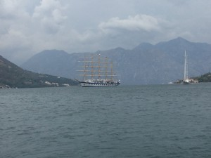 Royal Clipper in Kotor Bay