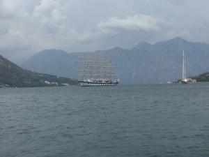 Royal Clipper in Kotor Bay