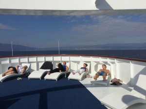 Sunbathing on MV Amalia