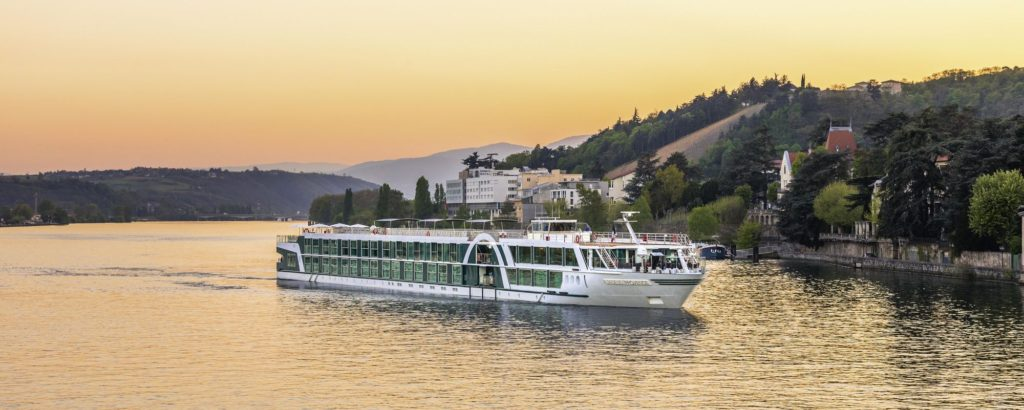 Amadeus Provence river ship on river Rhone at dusk.