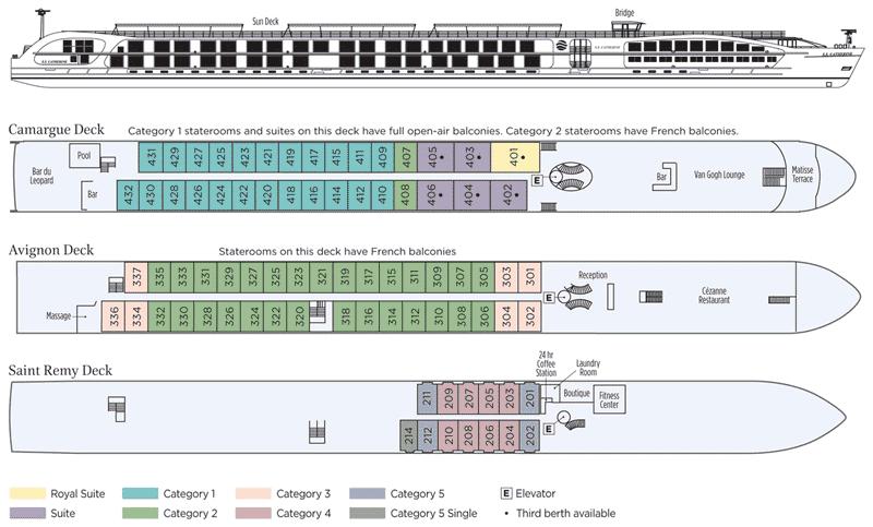 Uniworld SS Catherine Deck Plan