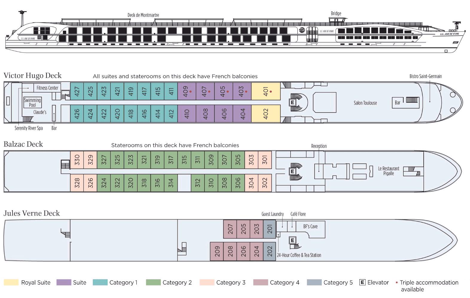 Uniworld SS Joie de Vivre, Deck Plan