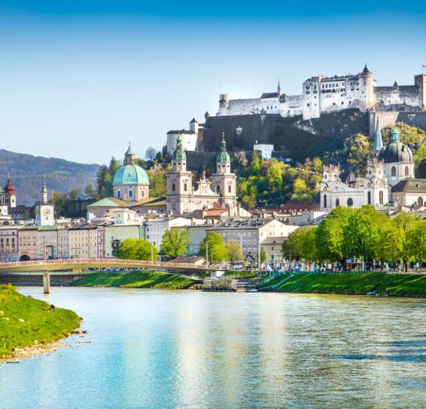 Beautiful-view-of-Salzburg-skyline-with-Festung-Hohensalzburg-and-Salzach-river-in-summer,-Salzburg,-Salzburger-Land,-Austria