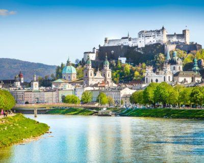 Danube - Beautiful view of Salzburg skyline with Festung Hohensalzburg and Salzach river in summer, Salzburg, Salzburger Land, Austria