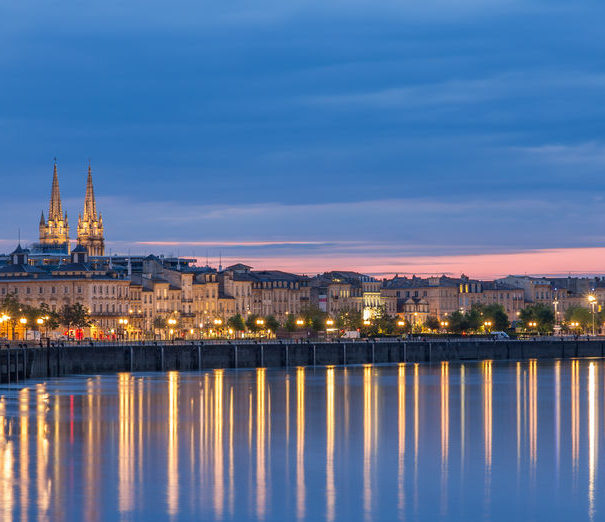 Bordeaux River Cruises. Bordeaux, France in the evening
