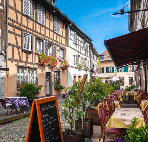 Rhine - Cafes in Petite-France in Strasbourg