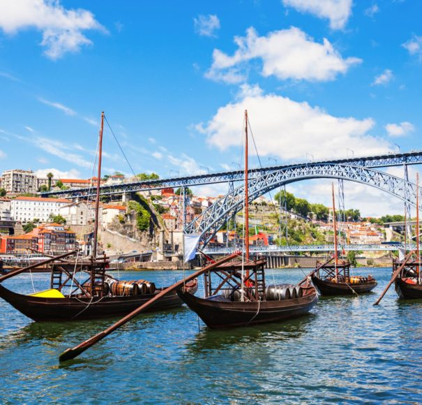 Douro-river-and-traditional-boats-in-Porto,-PortugalLowRes
