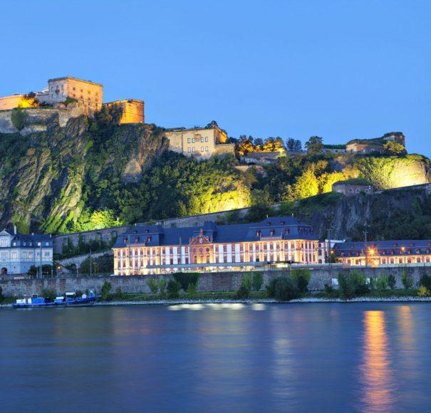 Rhine - Fortress-Ehrenbreitstein-on-the-side-of-river-Rhine-in-Koblenz,-GermanyLowRes