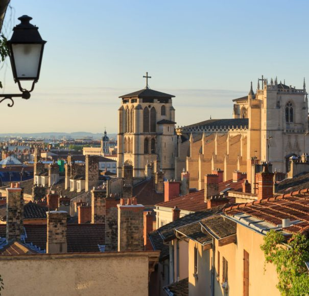 Rhone - Lantern, rooftops and cathedral St. Jean Baptiste in Vieux Lyon, the old town of Lyon. France