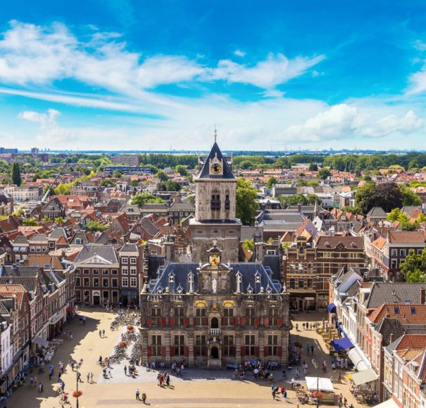 Dutch - Panoramic aerial view of Delft in a beautiful summer day, The Netherlands