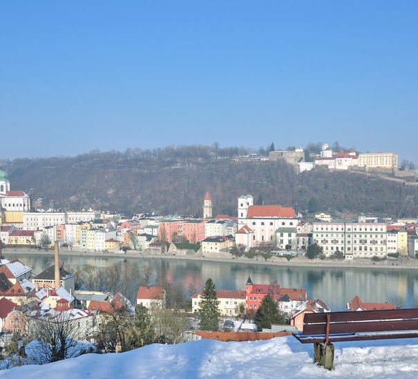 Passau and the Danube River with Christmas Snow, Bavaria, Germany