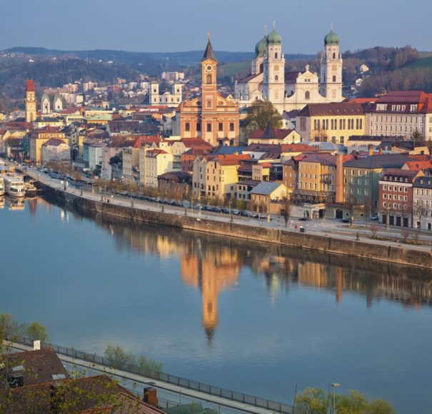 Danube - Passau. Passau skyline during sunset, Bavaria, Germany