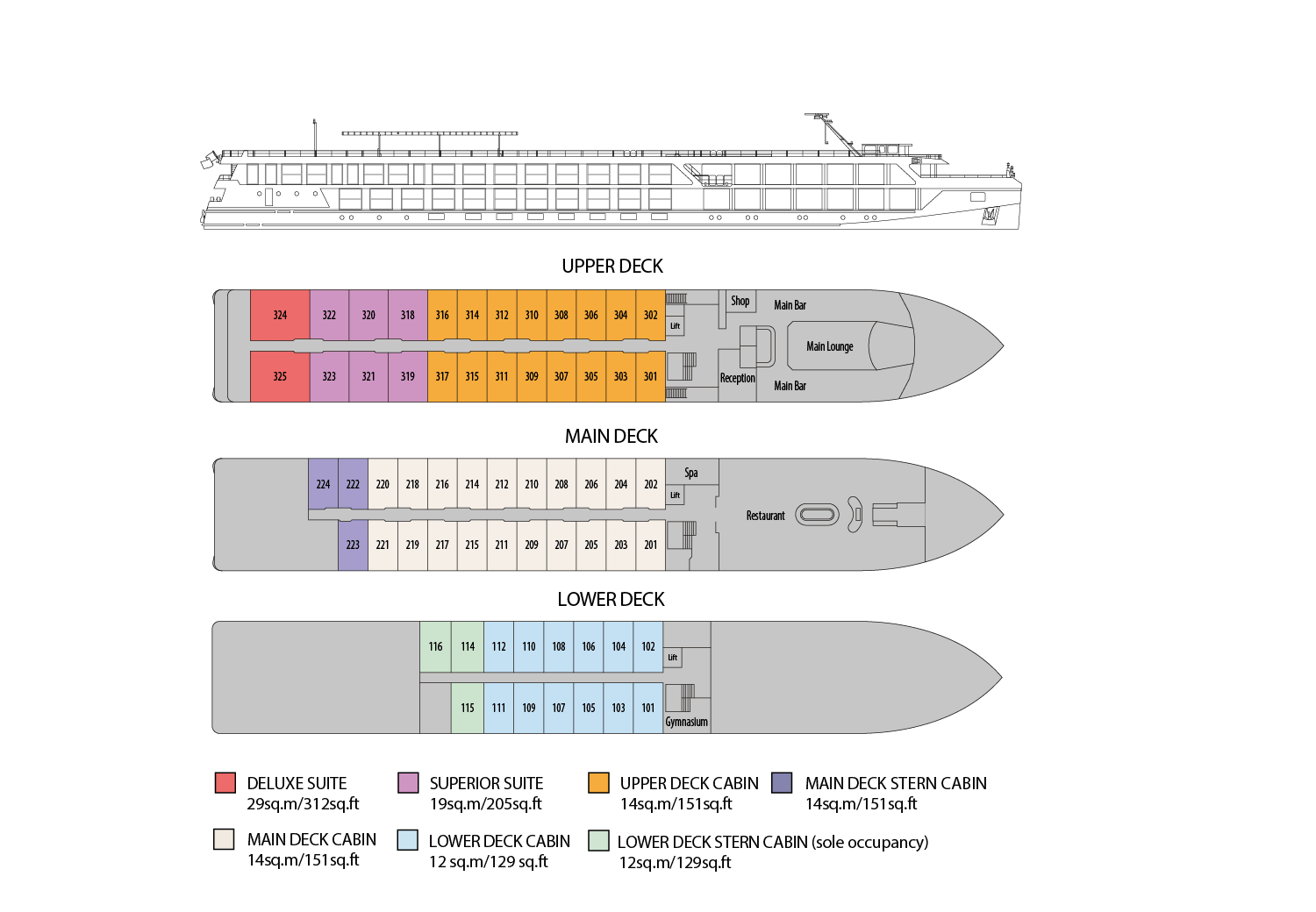 Riviera Travel - Douro Elegance - Deck Plan