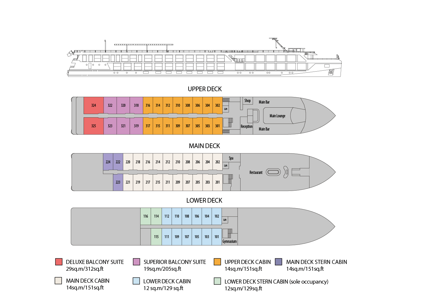 Riviera Travel - Douro Splendour - Deck Plan
