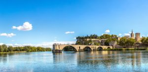 Rhone - Saint Benezet bridge in Avignon in a beautiful summer day, France