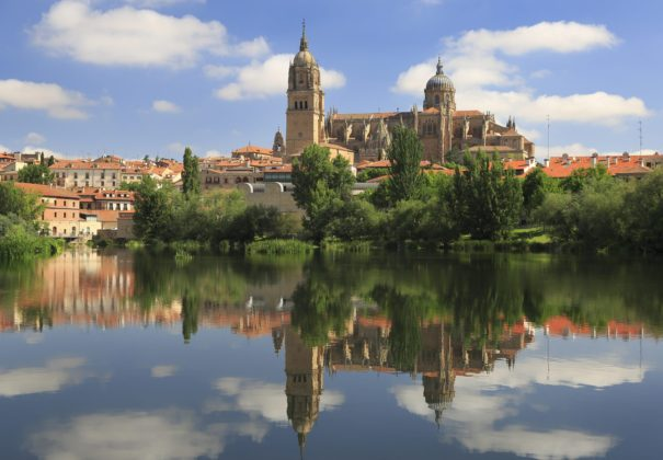 Douro - Salamanca Old and New Cathedrals reflected on Tormes River
