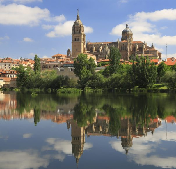 Titan River Cruise Douro - Salamanca Old and New Cathedrals reflected on Tormes River