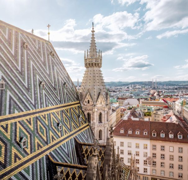 Danube - Vienna Skyline with St. Stephen's Cathedral, Vienna, Austria