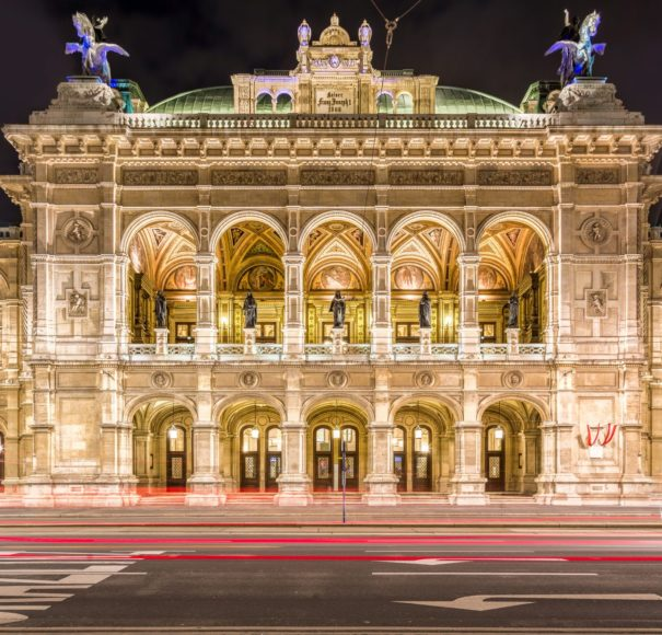 Danube - Vienna State Opera at night, Vienna, Austria