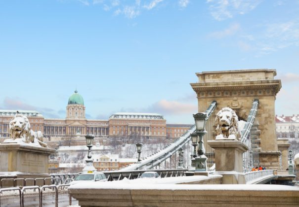 Christmas on the Danube. Danube-Chain-Bridge-and-Royal-Palace-in-Budapest-in Winter