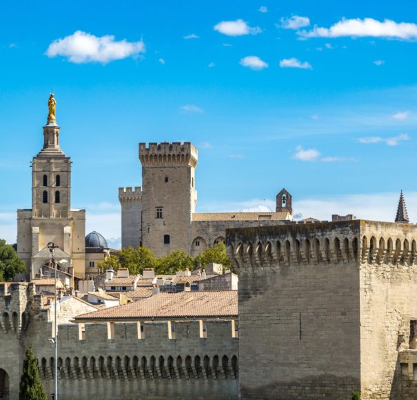Rhone - Popes-Palace-in-Avignon-in-a-beautiful-summer-day,-FranceLowRes