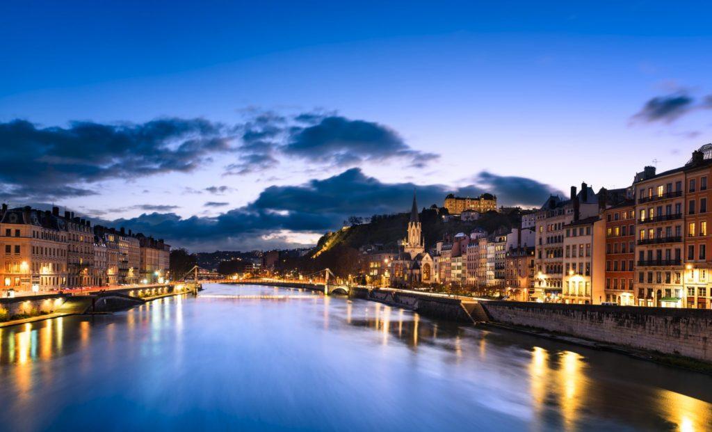 Lyon at nightime