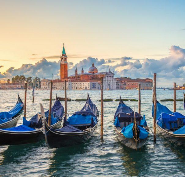 Gondolas moored by Saint Mark square,-Venice