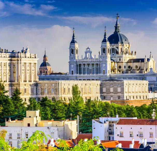 Madrid, Spain skyline at Santa Maria-la-Real-de-La Almudena Cathedral and the Royal Palace Douro