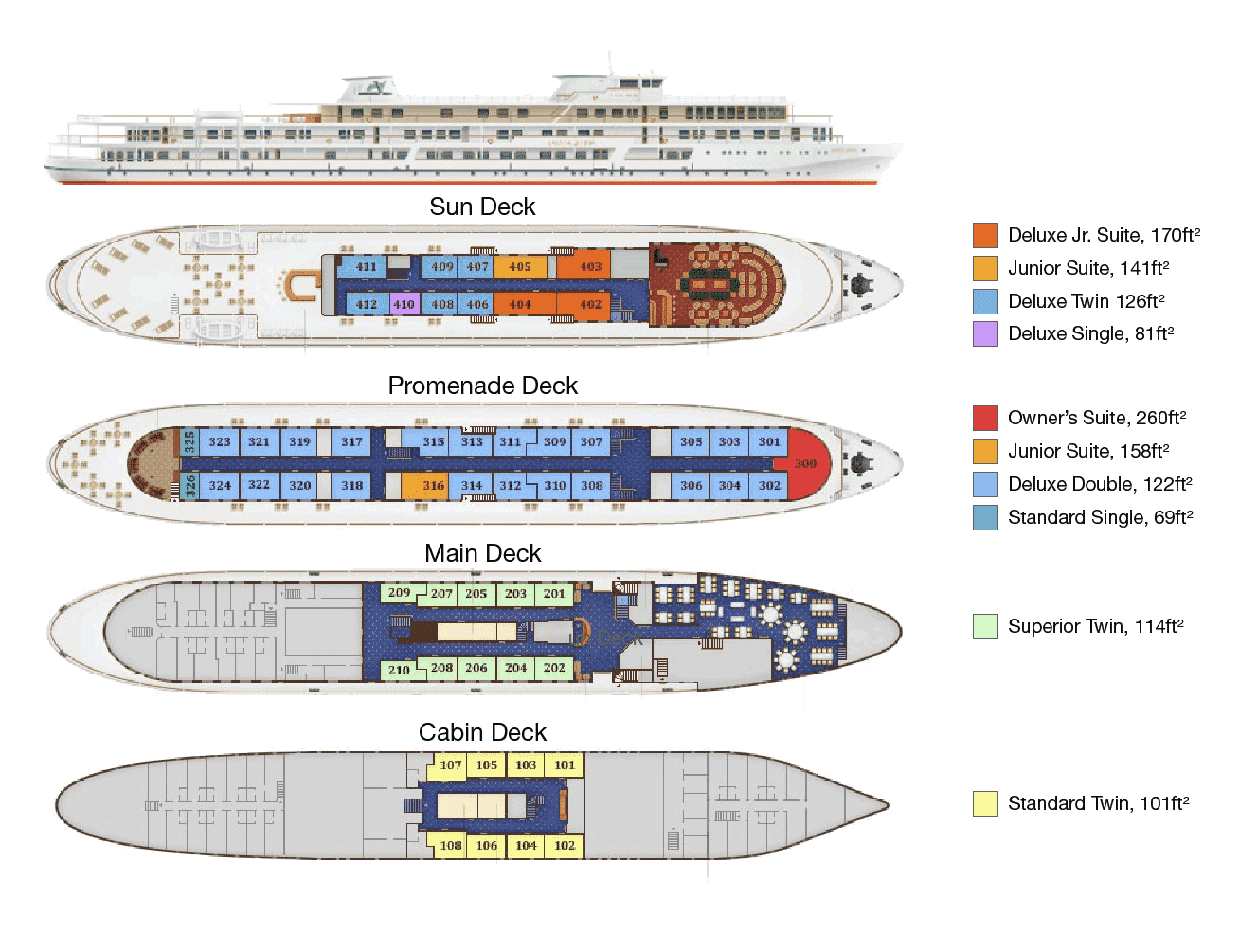 MS Volga Dream - Deck Plan