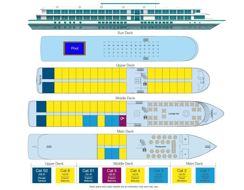 CroisiEurope MS Miguel Torga - Deck Plan