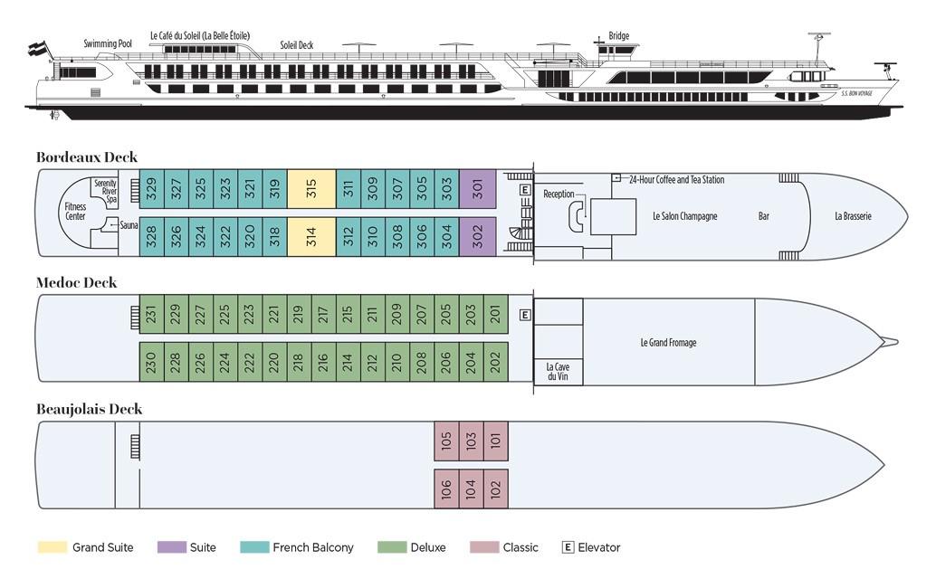 Uniworld SS Bon Voyage - Deck Plan