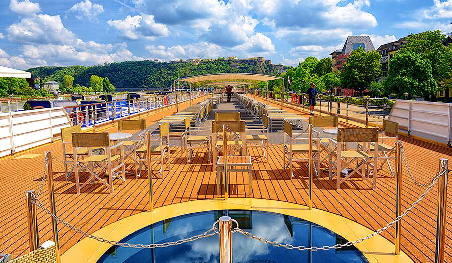 River cruise ship sun deck with 360 degree view