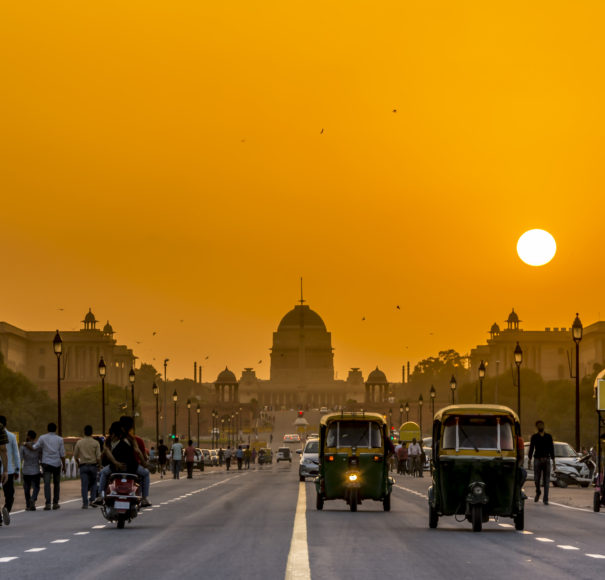 Sunset behind the President Residence, Rashtrapati Bhavan, New Delhi, India