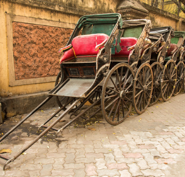 Traditional hand pulled Indian rickshaws Kolkata