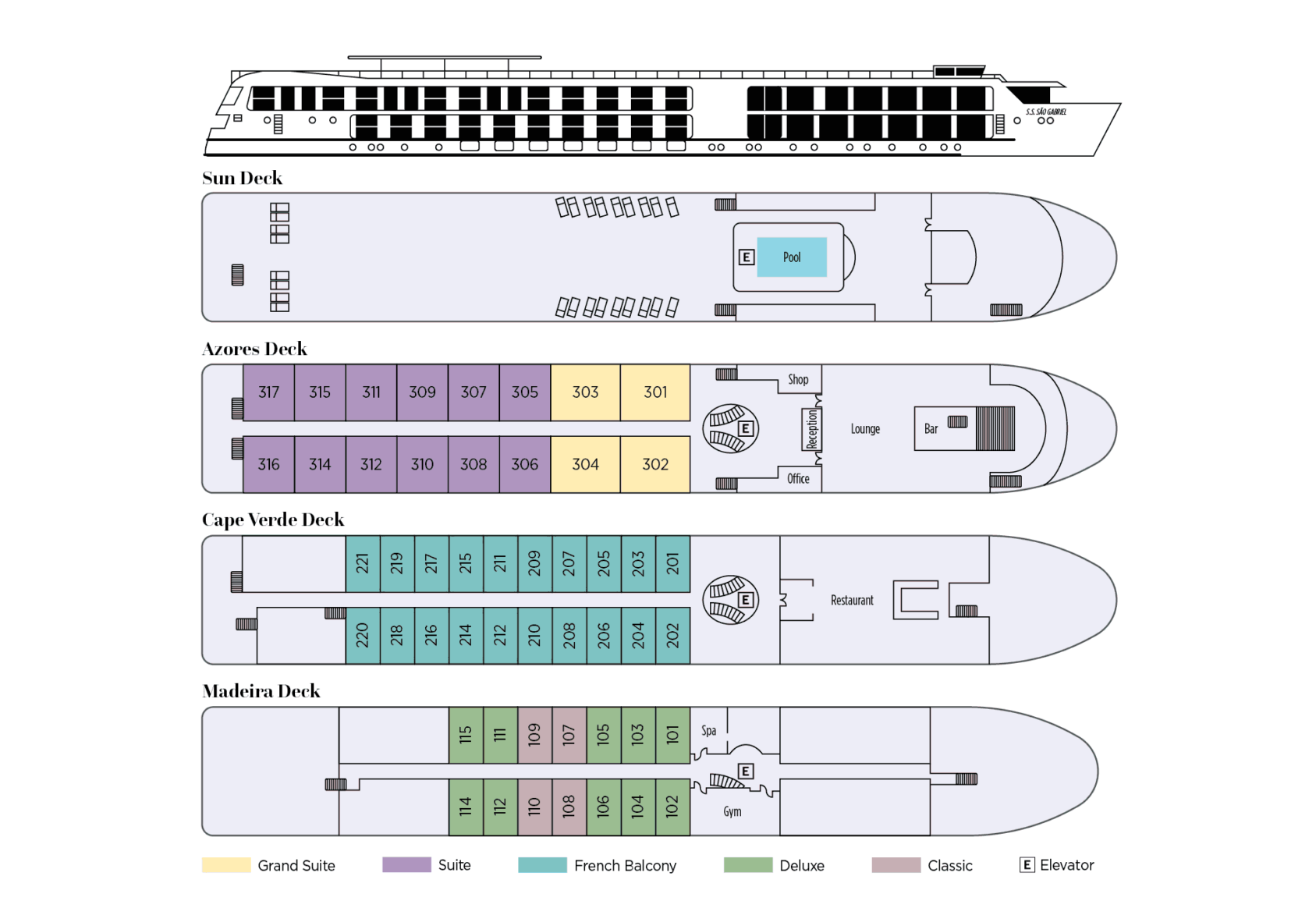 Uniworld - SS Sao Gabriel - Deck Plan