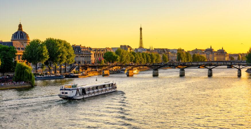 Seine no fly river cruise ship near Eiffel Tower